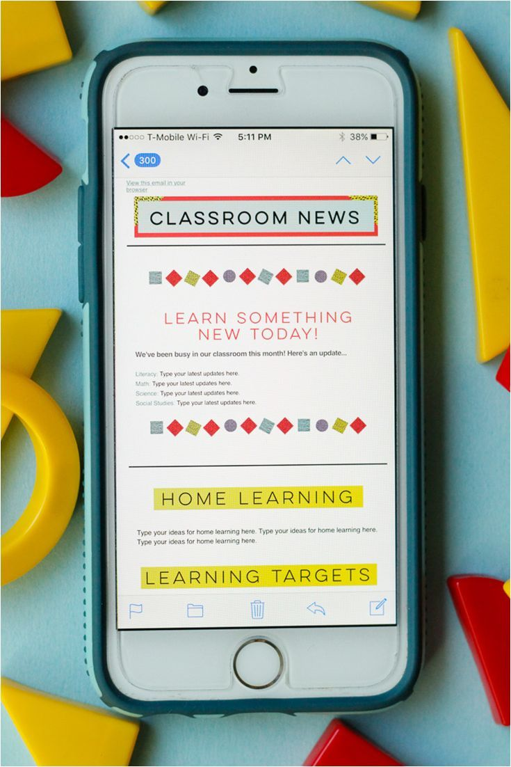 geometric-themed classroom newsletters. these templates are mobile, Modern powerpoint