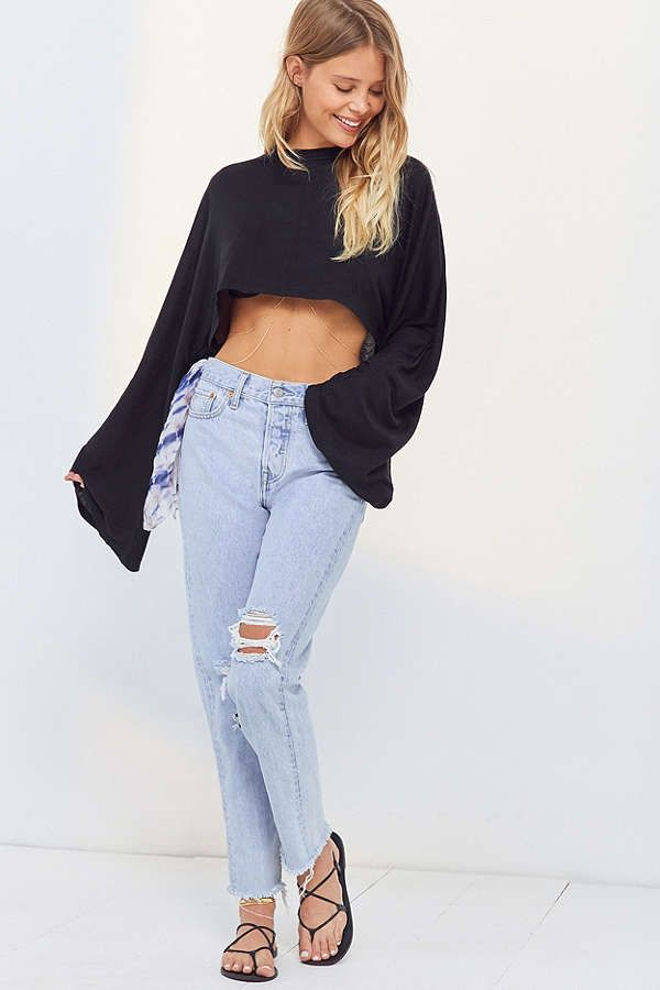fc098e356a4 Project Social T Claire Bell-Sleeve Cropped Top | SEPT P1 | Bell ...