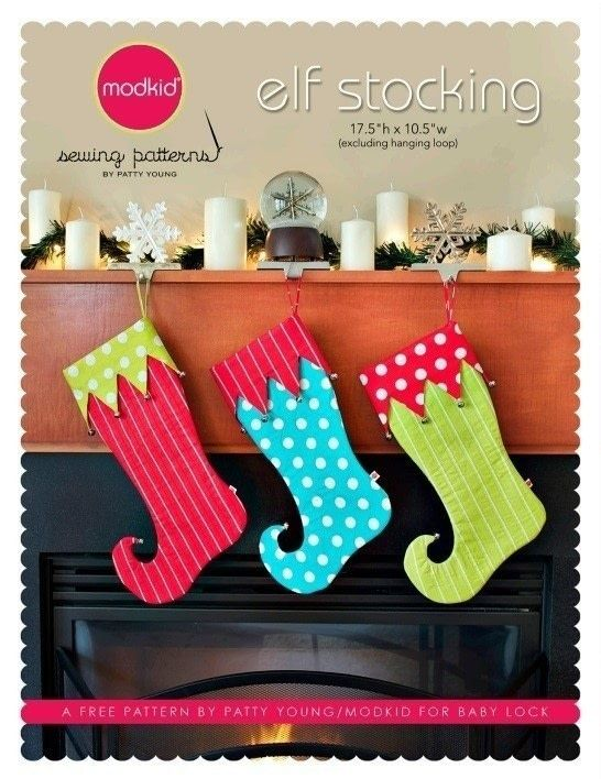 whimsical stocking template  Elf Stocking By Modkid | sewing projects | Stocking pattern ...