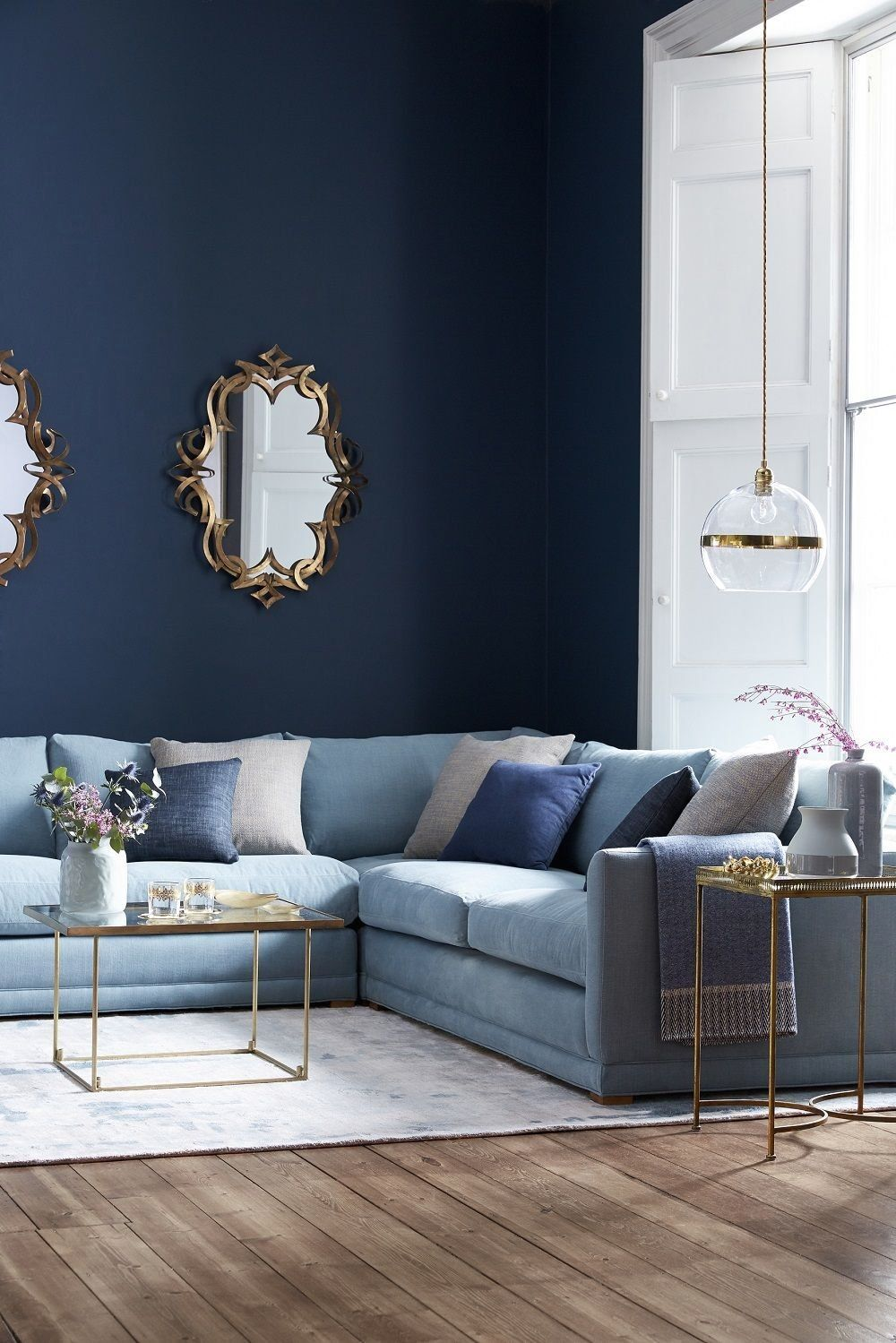 The Aissa Corner Sofa Seats A Lot Of People In A Small Space This Corner Sofa I In 2020 Blue Sofas Living Room Light Blue Sofa Blue Living Room