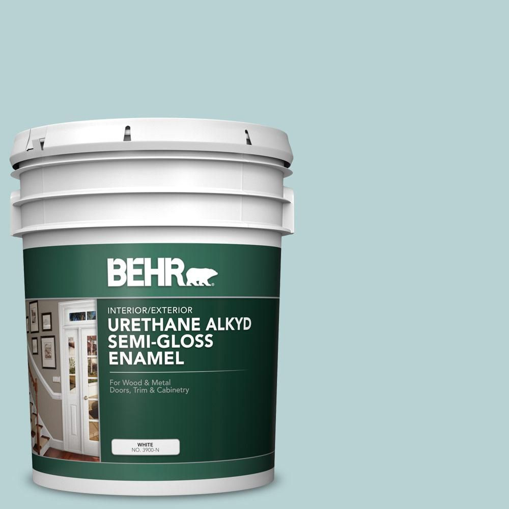 Behr 5 Gal S440 2 Malaysian Mist Urethane Alkyd Semi Gloss Enamel Interior Exterior Paint Exterior Paint Behr Interior