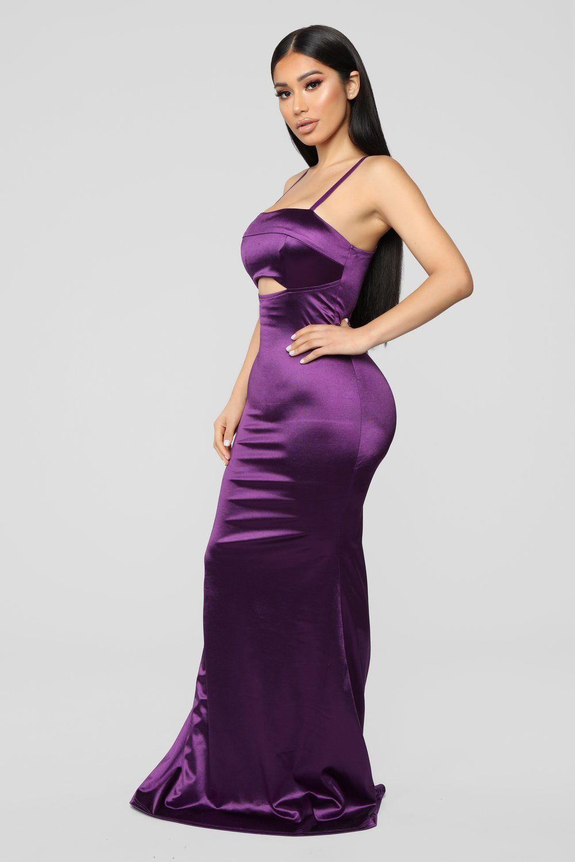 Gala ready satin dress purple purple dress fashion