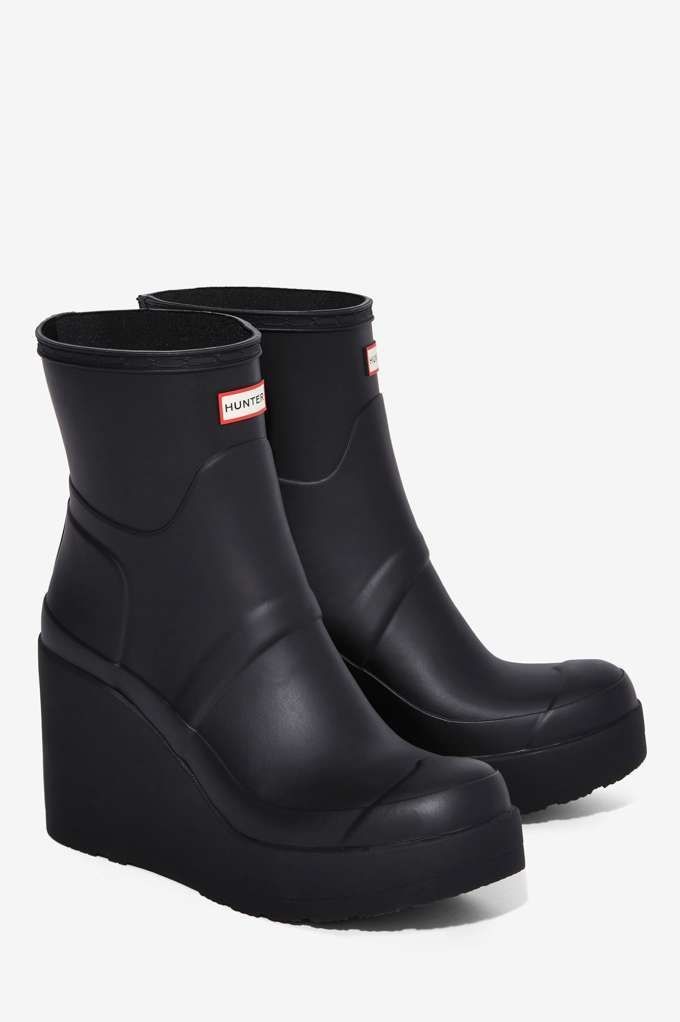 Hunter Original Refined Patent Wedge Rain Boot - Boots + Booties ... 326a46256243