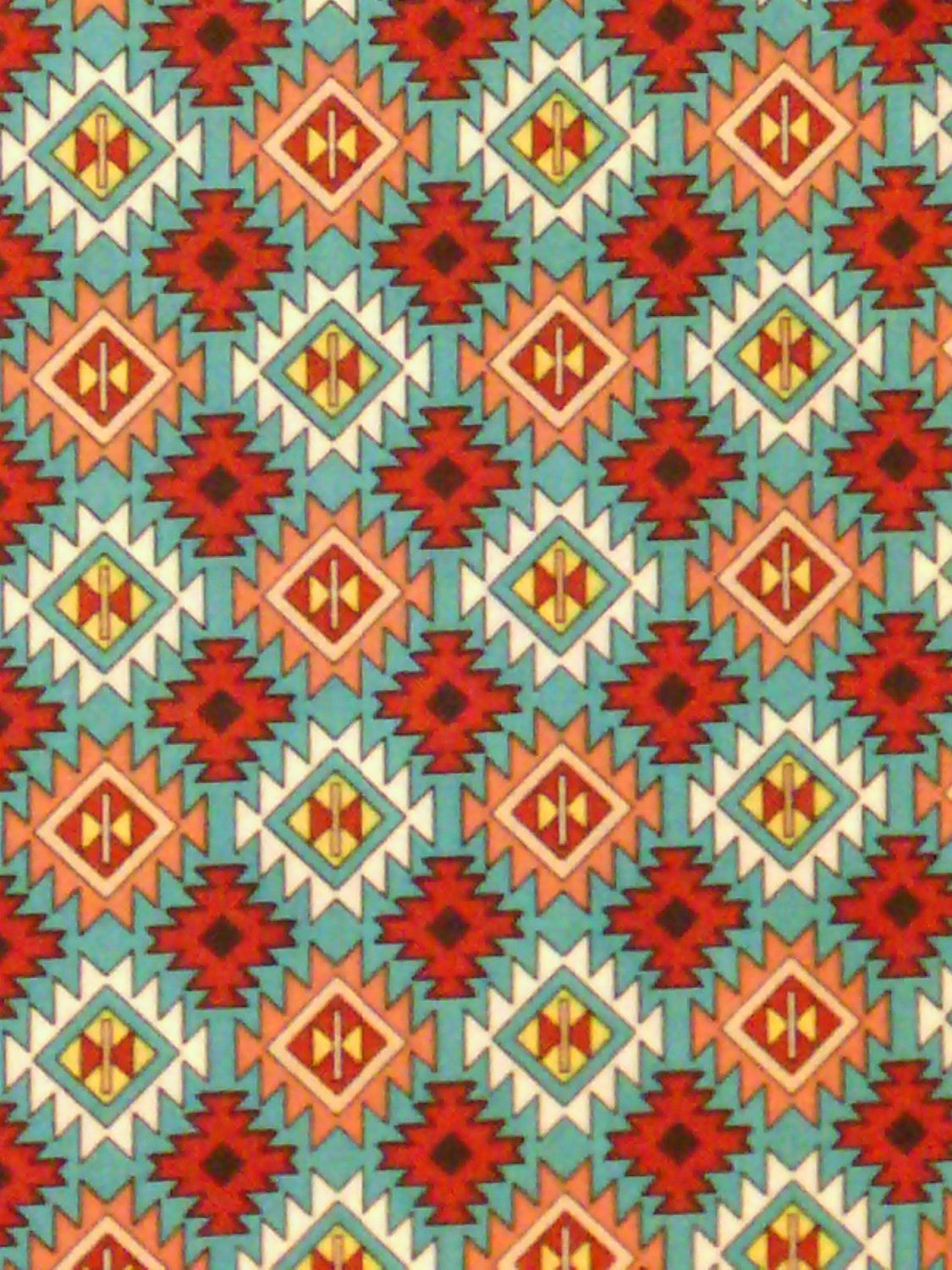 Teal cranberry native american cotton fabric by scizzors for Native design