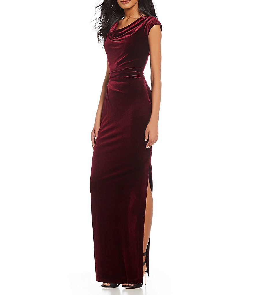 600ea0f6a99 Vince Camuto Ruched Cap Sleeve Velvet Gown Ruched