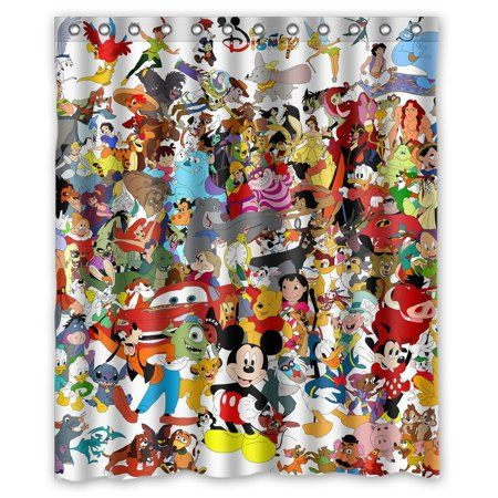 DEYOU Cute Cartoon Mickey Minnie Mouse Shower Curtain Polyester Fabric Bathroom Size 60x72 Inch