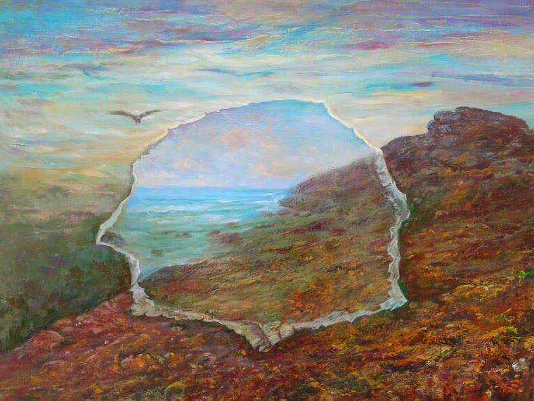 La escapada, óleo surrealista original de Rudi.