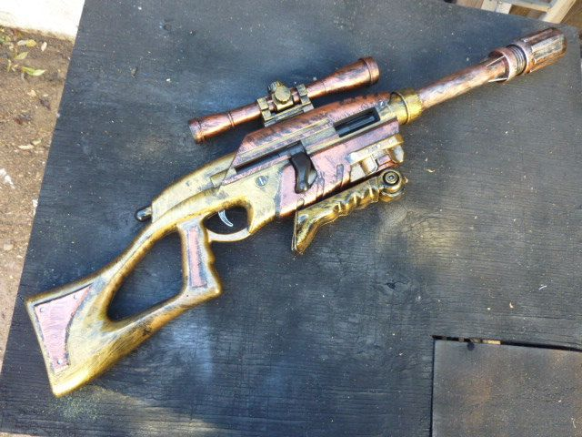 Items similar to STEAMPUNK MODIFIED bolt action SNIPER Rifle shoots over 75  ft wScope & Bi-Pod Nerf Type gun on Etsy