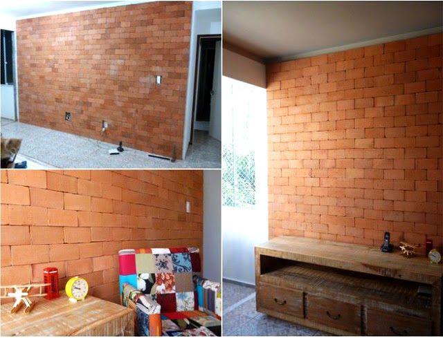 Parede de Tijolinho - Faça você mesmo Ideia Pinterest Sala de - paredes de cemento