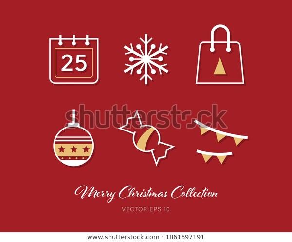 Beautiful Christmas Outline Flat Icon Set เวกเตอร สต อก ปลอดค าล ขส ทธ 1861697191 ในป 2021 ภาพประกอบ