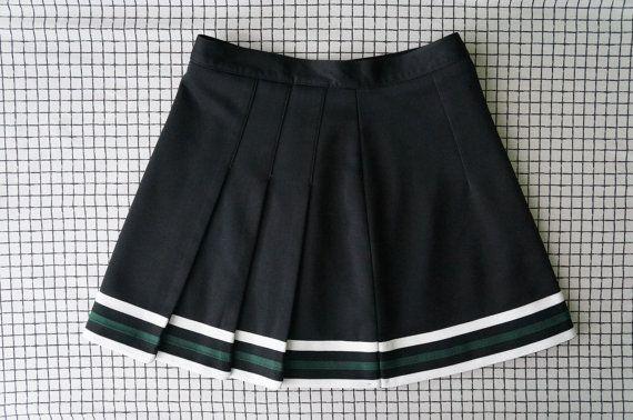 90 39 S Tennis Skirt Black White Green Stripes Pleated High Waisted Tennis Skirt S Tennis Skirt Tennis Skirts Tennis Clothes