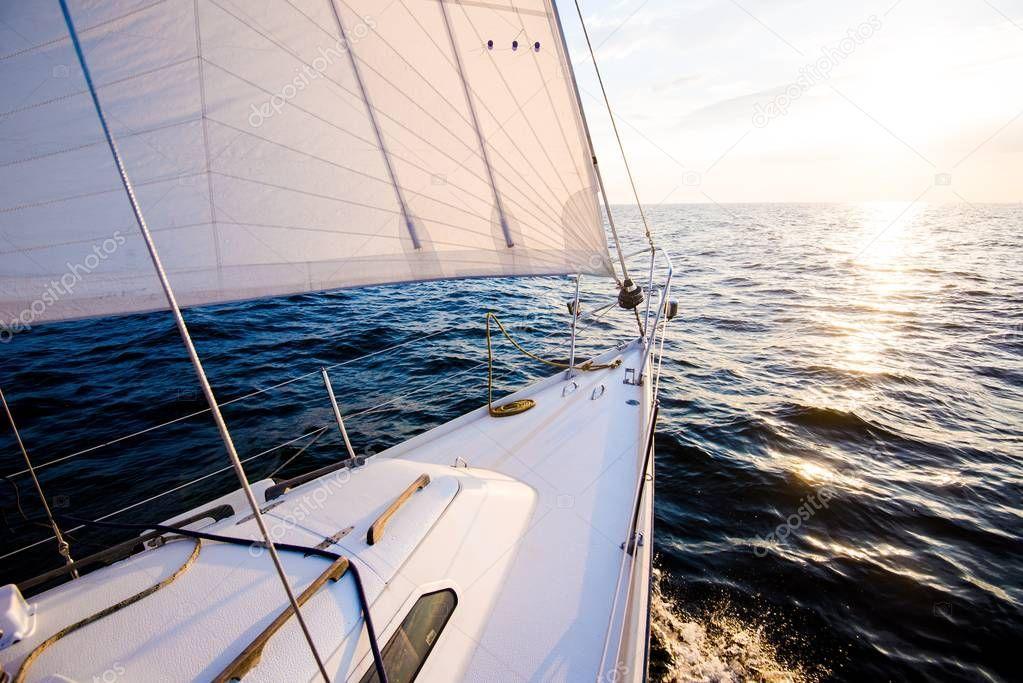 Sailing Sunset View Yacht Deck Bow Sails Close Baltic Sea Stock