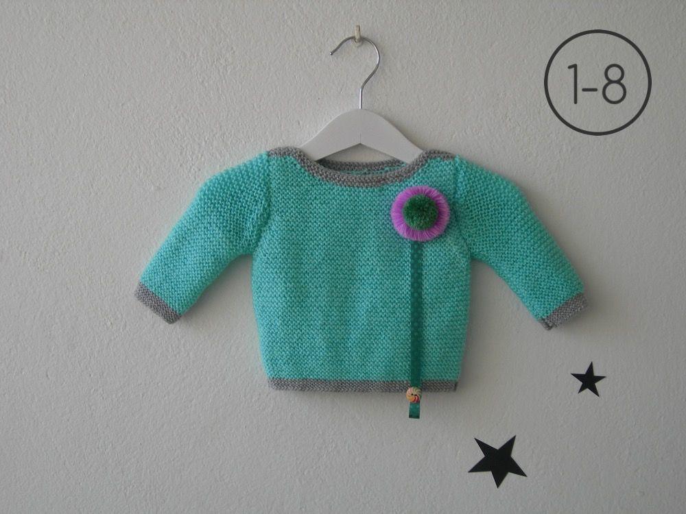 Jersey para bebe hecho a punto bobo en color aguamarina con elástico