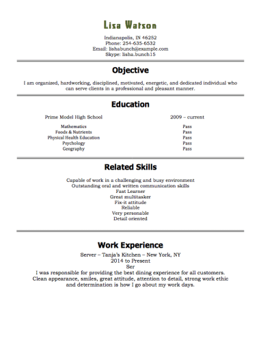 Resume Examples 15 Year Old 1 Resume Examples Resume Examples