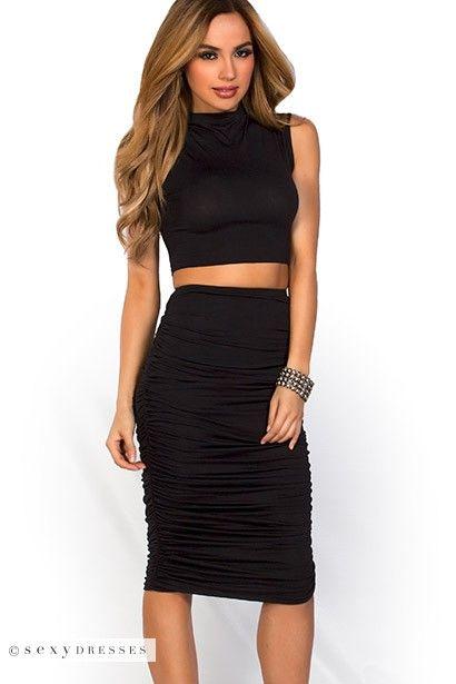 Leighton Black Midi Pencil Skirt And Crop Top 2 Piece Dress Set With Images Black Midi Pencil Skirt