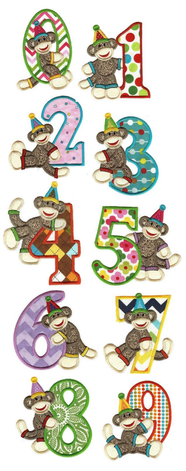 Birthday Sock Monkey Numbers Applique available for instant download at www.designsbyjuju.com