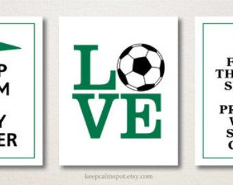 Keep Calm and PLAY SOCCER Typography Art Print 5x7 by keepcalmspot