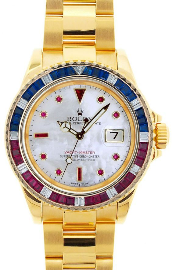 3c351a234b19 Rolex Yachtmaster Yellow Gold MOP Ruby Around Dial   Red