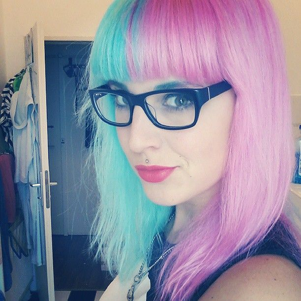 Light Blue And Pink Split Hair Rockabilly Hair Pretty Hair