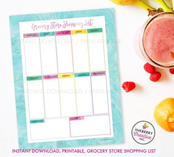 #Aqua #Colorful #Download #Grocery #Instant #List #Meal #PDF #Planning #Printable #Shopping #Store #Watercolor #Weekly Printable Grocery Store Shopping List, Instant Download, PDF, Meal Planning, Grocery List, Weekly Grocery Store, Colorful Aqua Watercolor