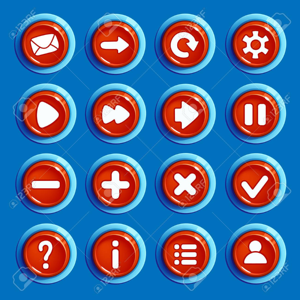 Set Of Cartoon Red Round Buttons With Web Icons Isolated Vector Web Icons Web Icon Vector Round Button
