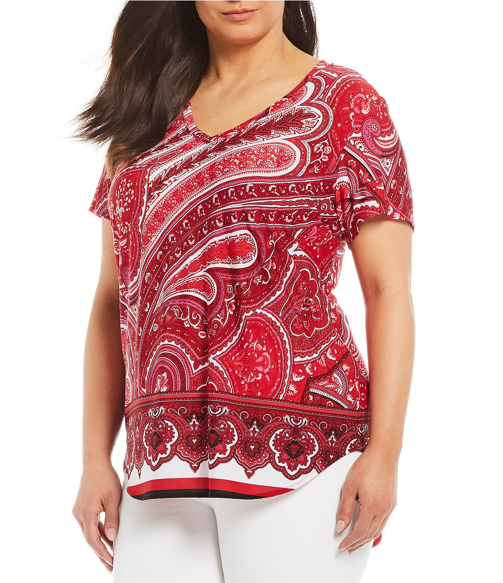 32154003ac Shop for Peter Nygard Plus Size Knit Red Paisley Short Sleeve Hi-Low Top at