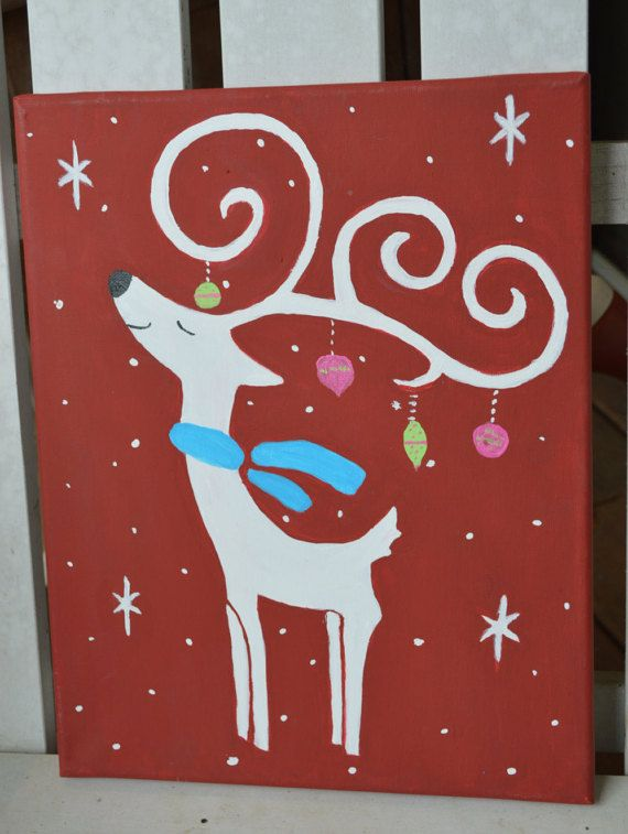Reindeer Canvas Painting Holiday Decor Christmas