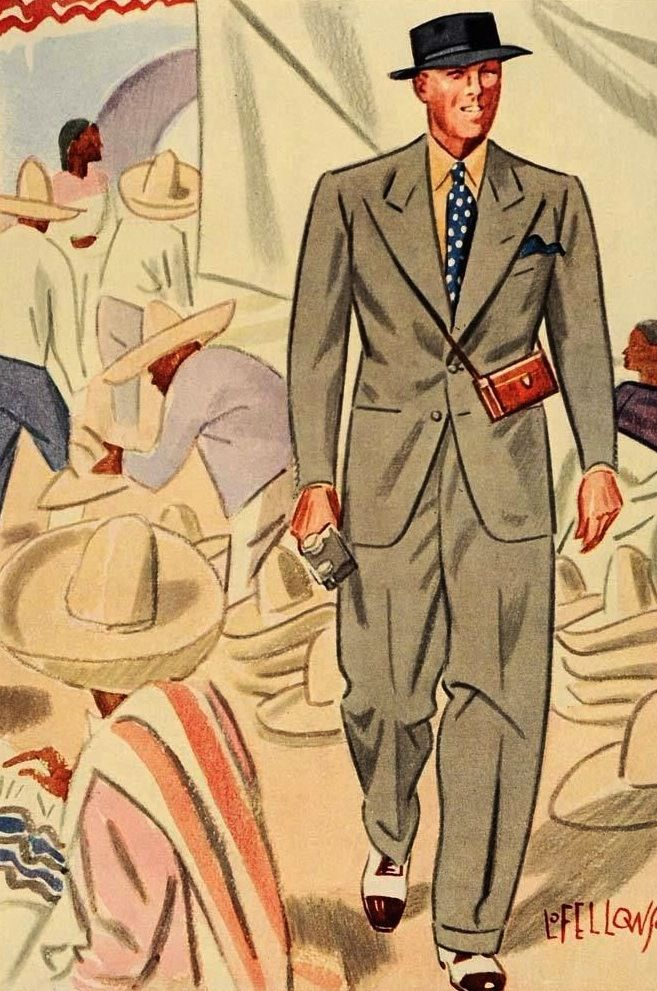 Esquire 1936 Mens Fashion Illustration Vintage Clothing Men 1940s Mens Fashion