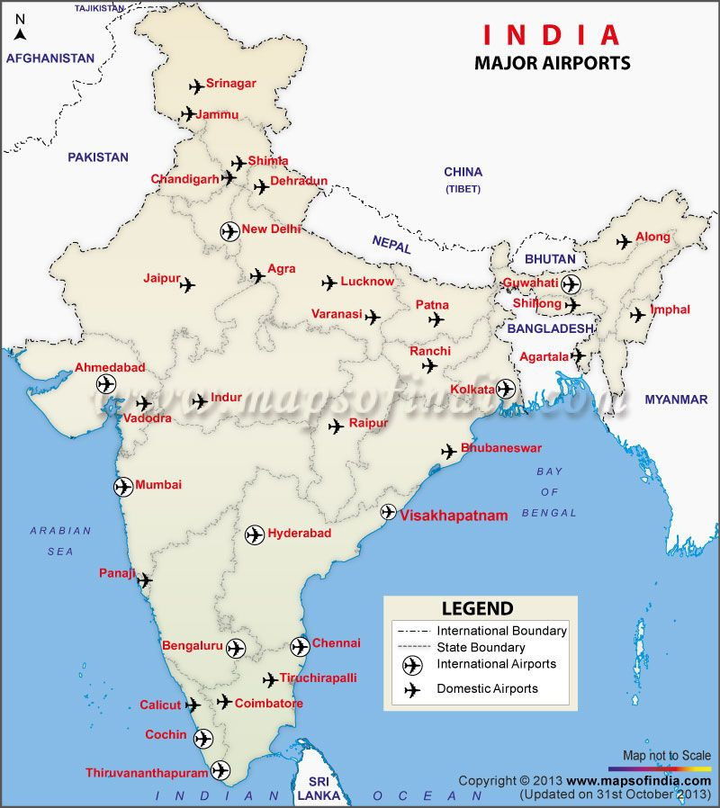 Map Of International Airports In India Map of Major Airports in India | India Thematic Maps in 2019