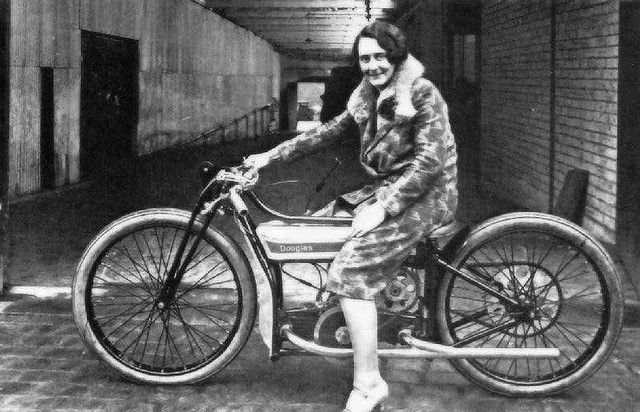 Famous speedway rider of her day Fay Taylour poses at the Douglas factory Kingswood 1920s