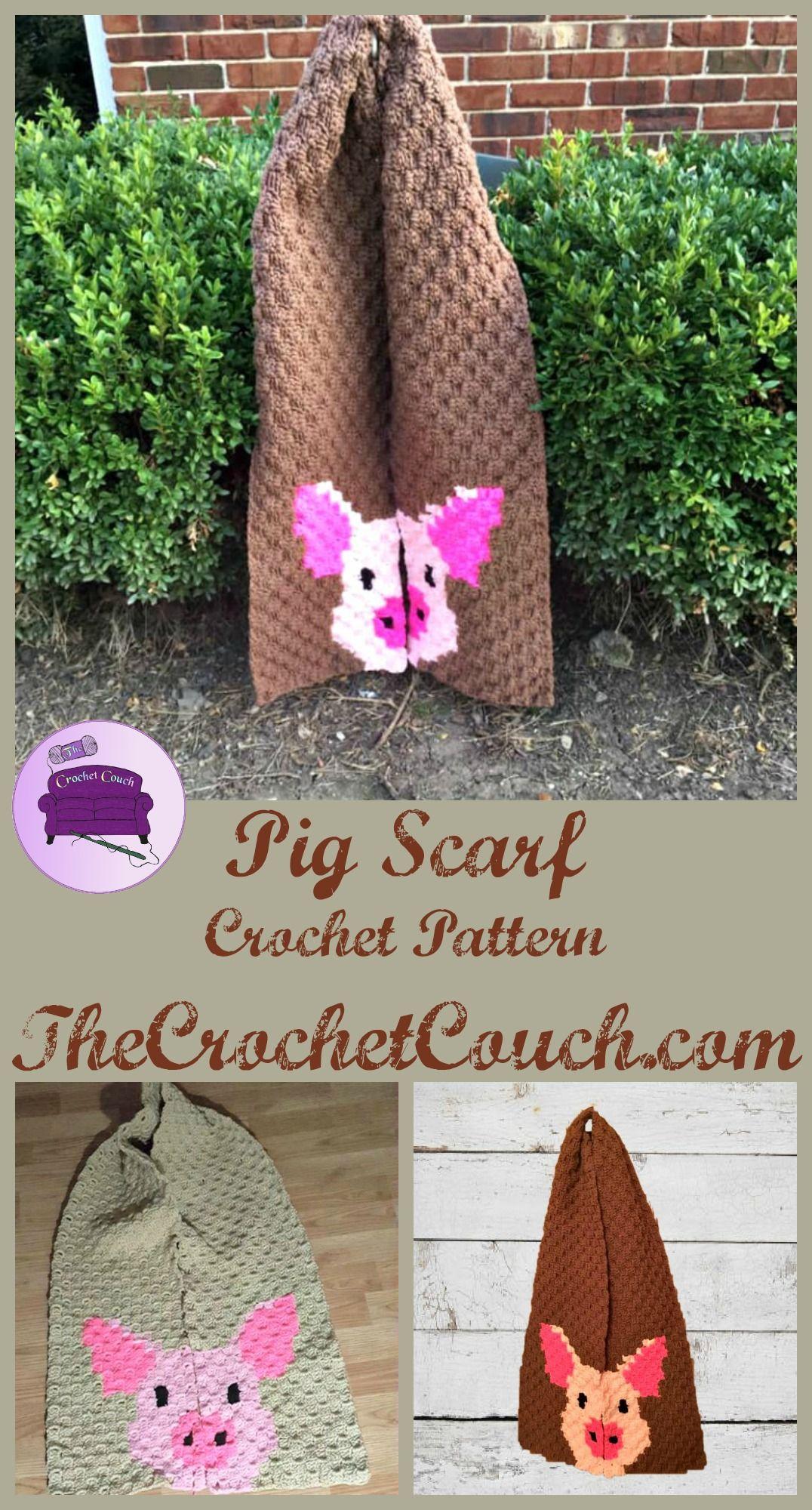 Pig Scarf, C2C Crochet Pattern | Keeping Warm w/ Crochet | Crochet