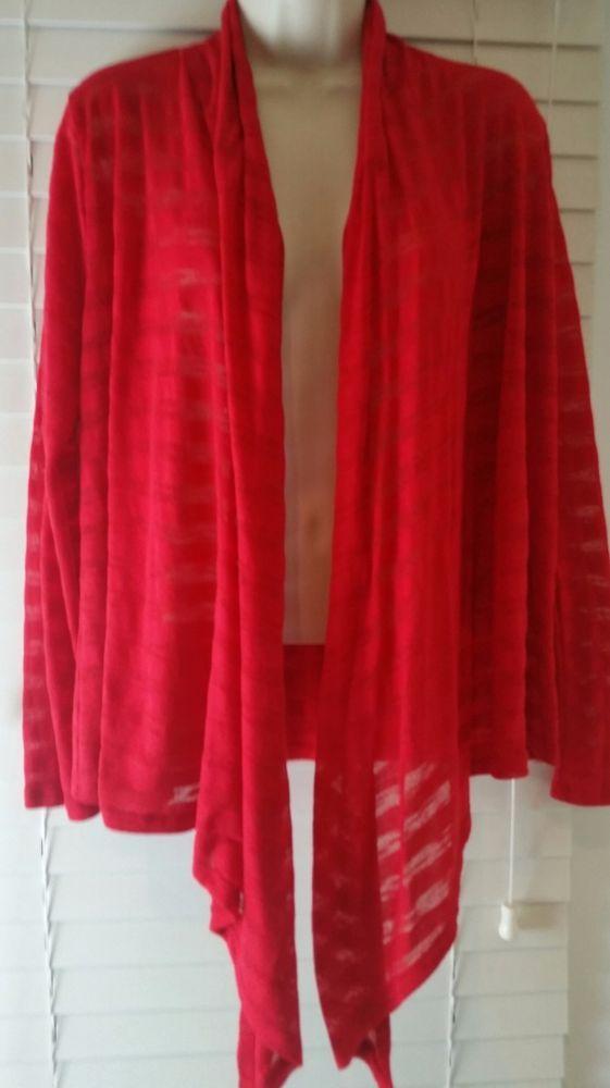 No Boundaries Red Sheer Stripes flyaway Cardigan Lace Heart On ...