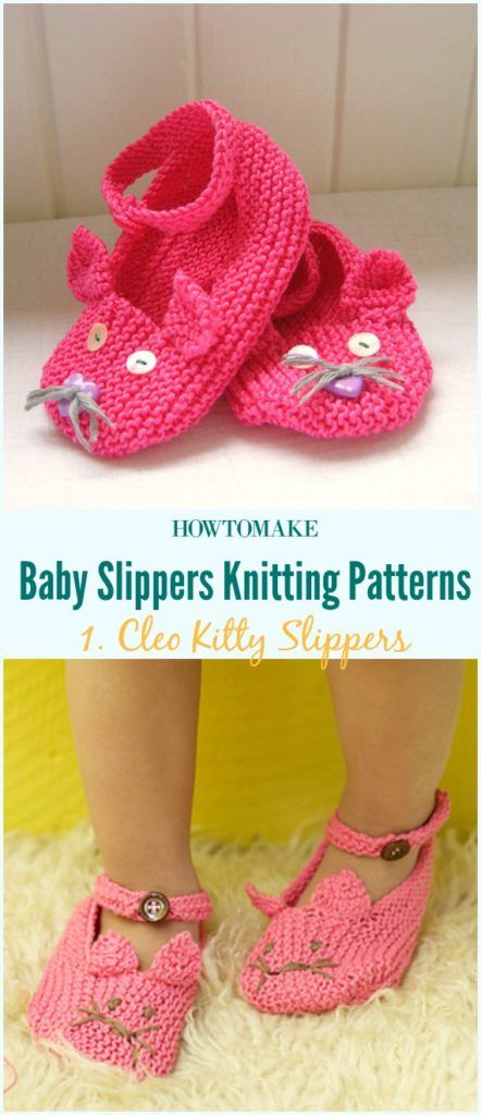 Cleo Kitty Slippers Free Knitting Pattern-Baby #Booties Slippers Free #Knitting Patterns