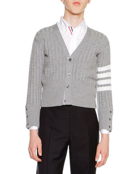THOM BROWNE Cable-Knit Cashmere V-Neck Cardigan, Light Gray ...