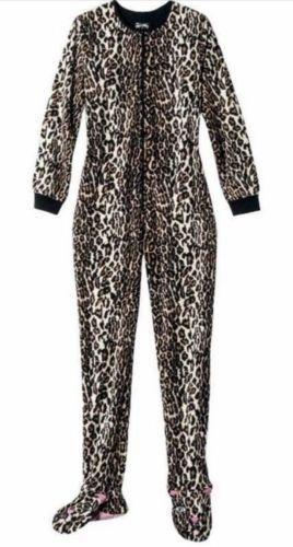 68105d355a Nick-amp-Nora-Leopard-Footed-Pajamas-Womens-S-Fleece-Costume-PJs-Cheetah- Animal