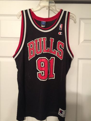 72731d05d Vintage Rare Champion Chicago Bulls Dennis Rodman Jersey Size 48 Black  please retweet