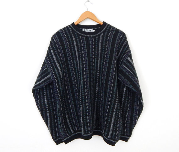 63c0c5d9ec36 Vintage 80s striped men s oversize hipster sweater - size M -  32.00 ...