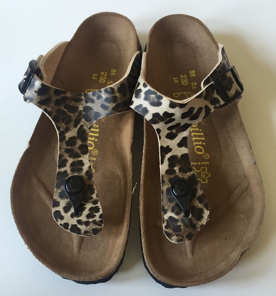 15e2fec28a4a NEW Papillio by Birkenstock Gizeh Womens 36 (US 5) Leopard Print Leather  Sandals  Papillio  FlipFlops  Casual