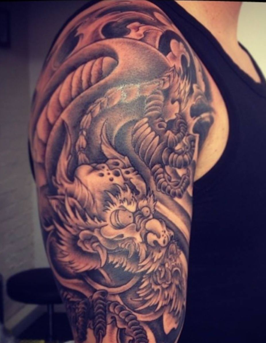 Tattoo Sleeve Cover Up By Mistameterz Japanese Style Blackandgrey Sleeve Dragon