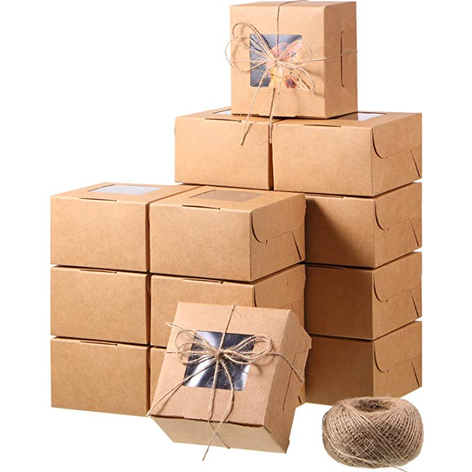 Amazon Com 50 Pieces Brown Bakery Box And 80 M Rope With Display Window Paper Board Cardboard G Bakery Box Dessert Boxes Packaging Christmas Cookies Packaging