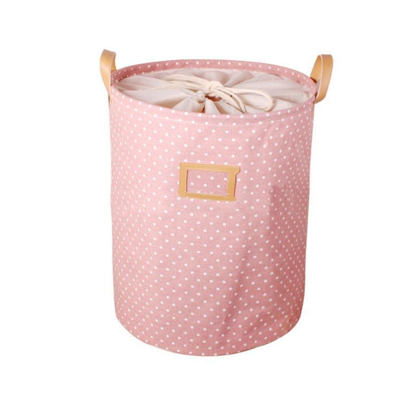 Laundry Bags With Handles 35*45Cm Foldable Cotton & Linen Storage Bucket Washing Clothes