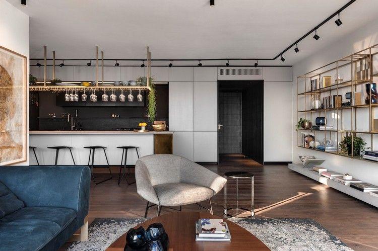 innendesign industrial chic style wohnzimmer küche hängeregal - industrial chic wohnzimmer