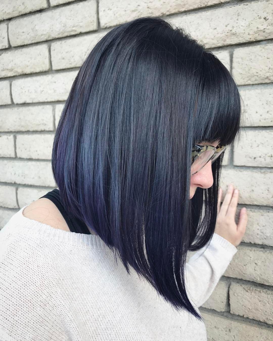 Midnight Blue Long Bob Haircut With Bangs Hair Styles Long Bob Haircuts