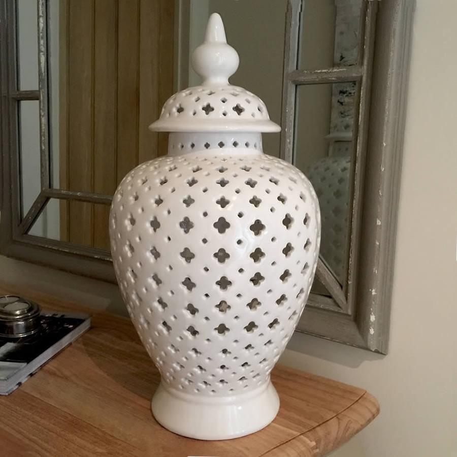 Large White Temple Jar With Cut Out Detail Ginger Delicate Intricate