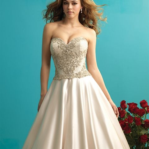 Style: 9273 - This rich satin ballgown is covered in dazzling crystal beading and is fit for a princess.