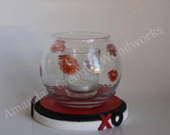 Valentine Hugs & Kisses Candleholder, Valentine Decor, Valentine Candleholder, Valentine Wedding Centerpiece