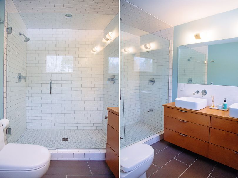 Midmodmich Sharing All Things Mid Century In Michigan White Subway Tile Shower Mid Century Modern Bathroom Modern Master Bathroom
