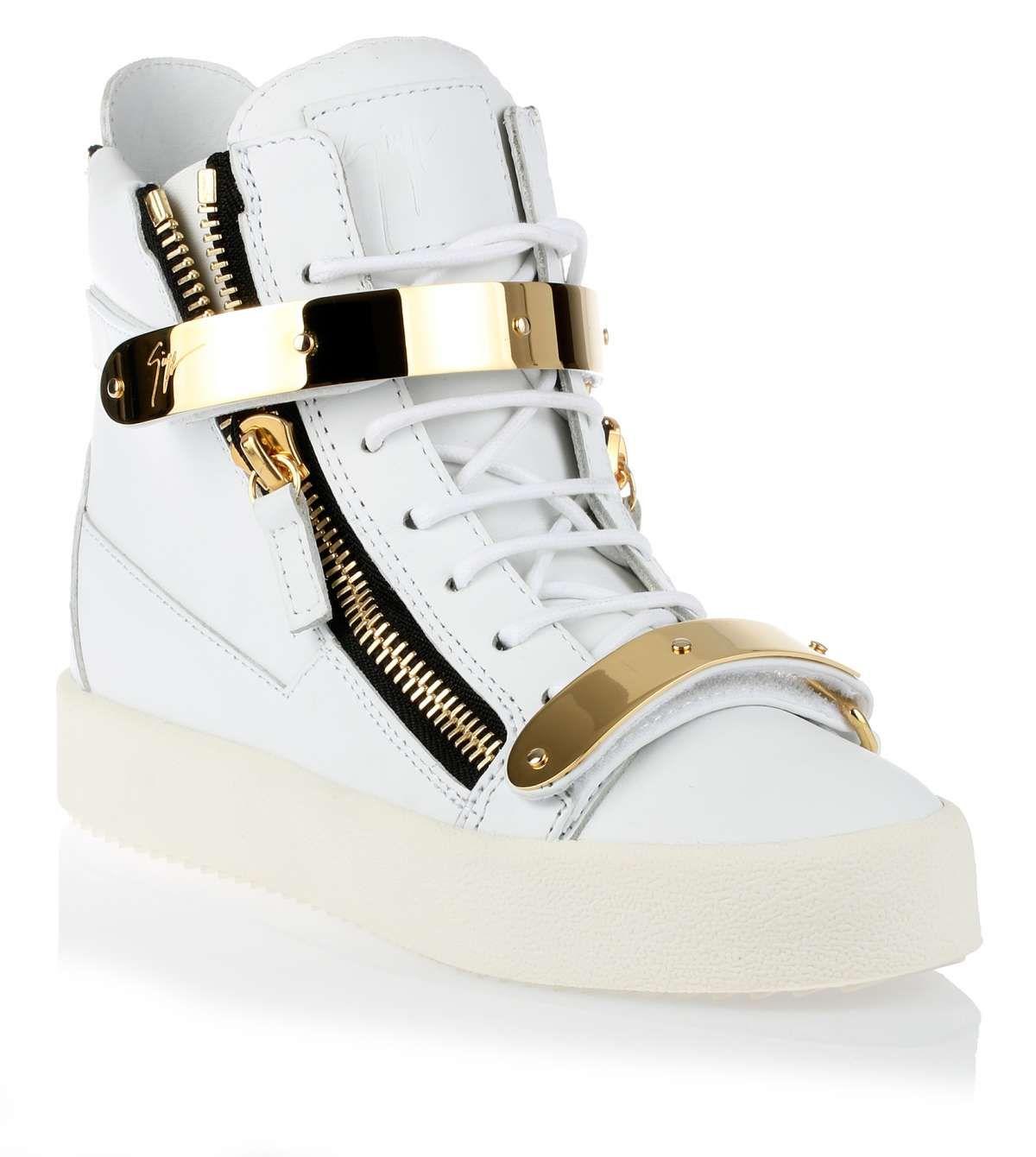 White gold leather sneaker Giuseppe