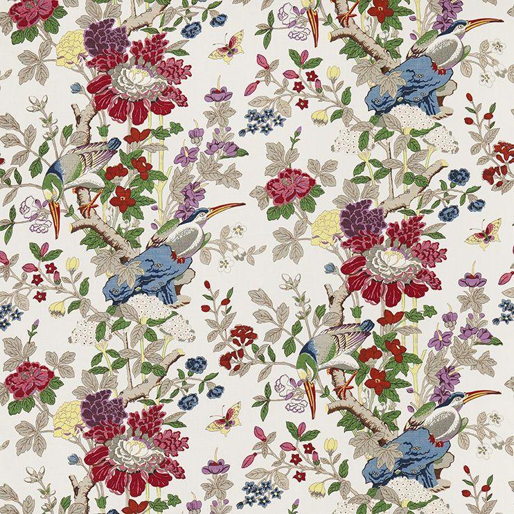 Produktbeskrivning   Textil Toucans Lin    Design: GP & J Baker  Material: Lin  Bredd: 125 cm  Rapport: ca 106 cm