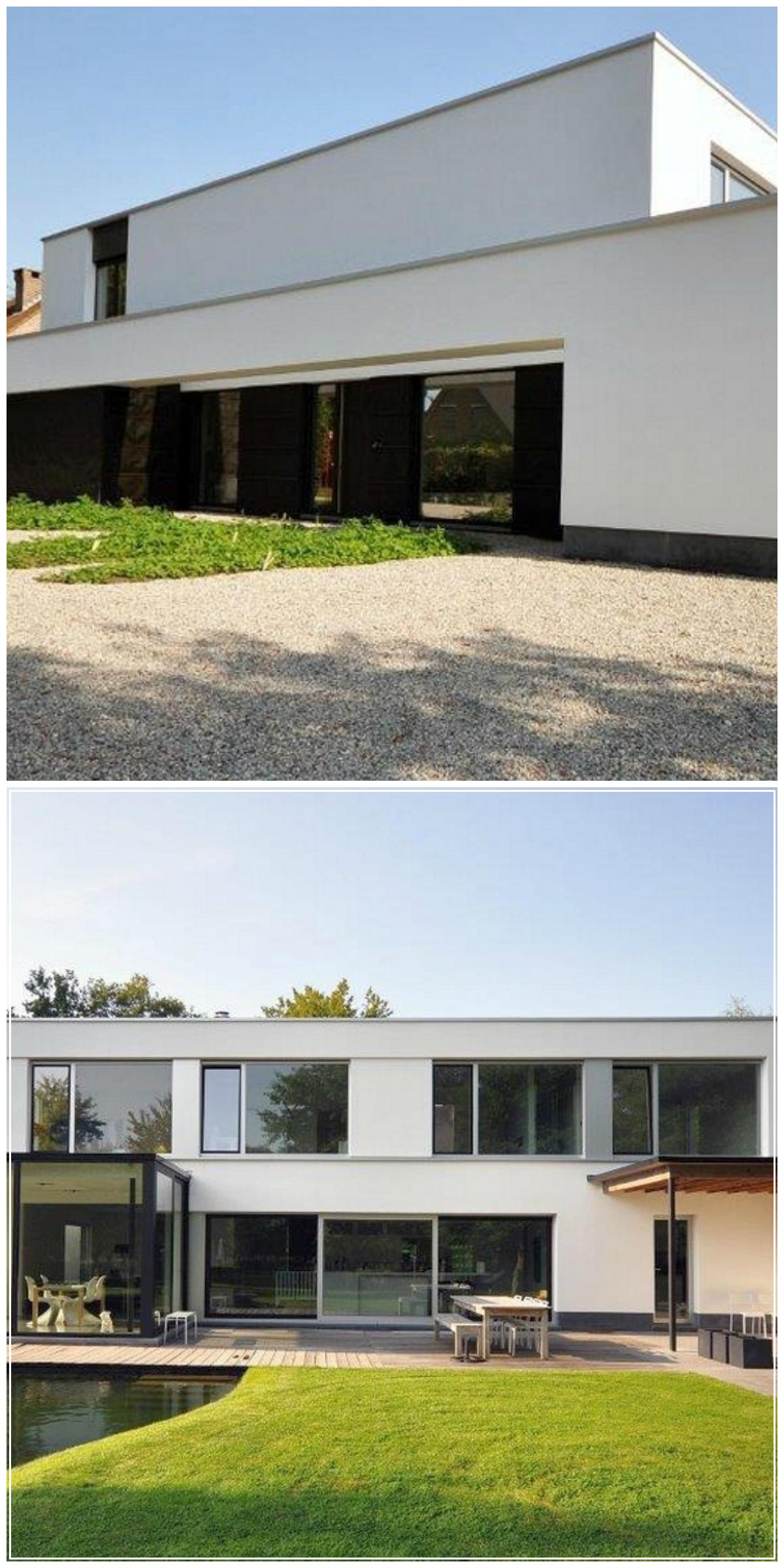 Renovatie modern gevelpleister vijver overdekt terras veranda architect christophe - Modern overdekt terras ...